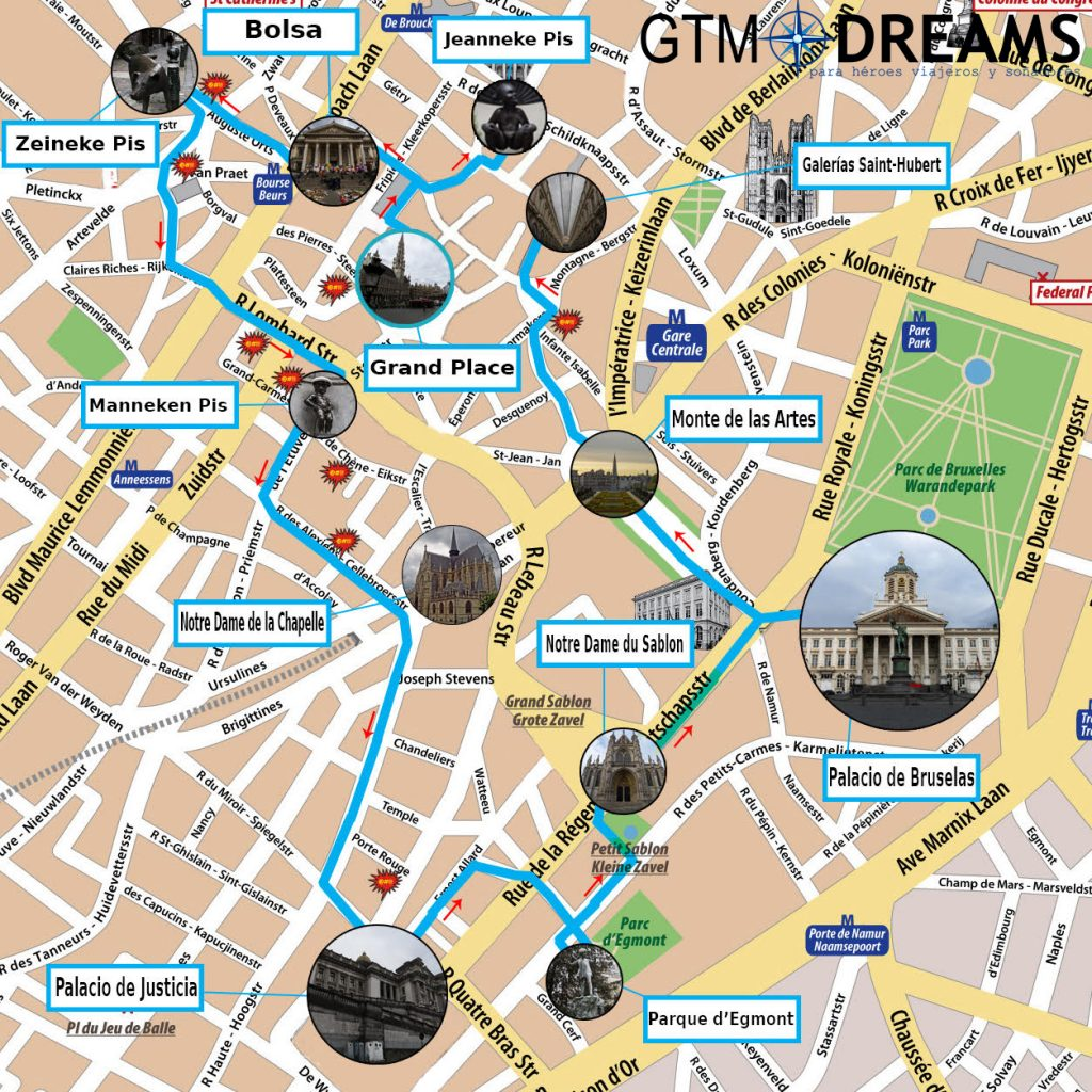 que ver en bruselas mapa gtmdreams