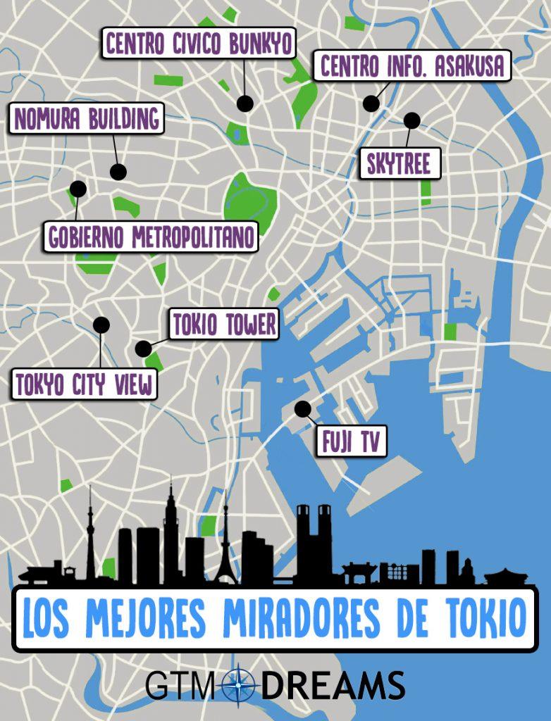 mapa tokio miradores