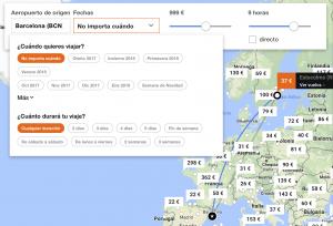 Mapa de vuelos baratos Explore Kayak