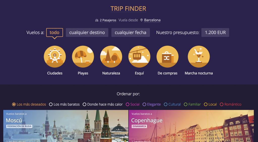 Inspiración viajera Trip Finder Momondo