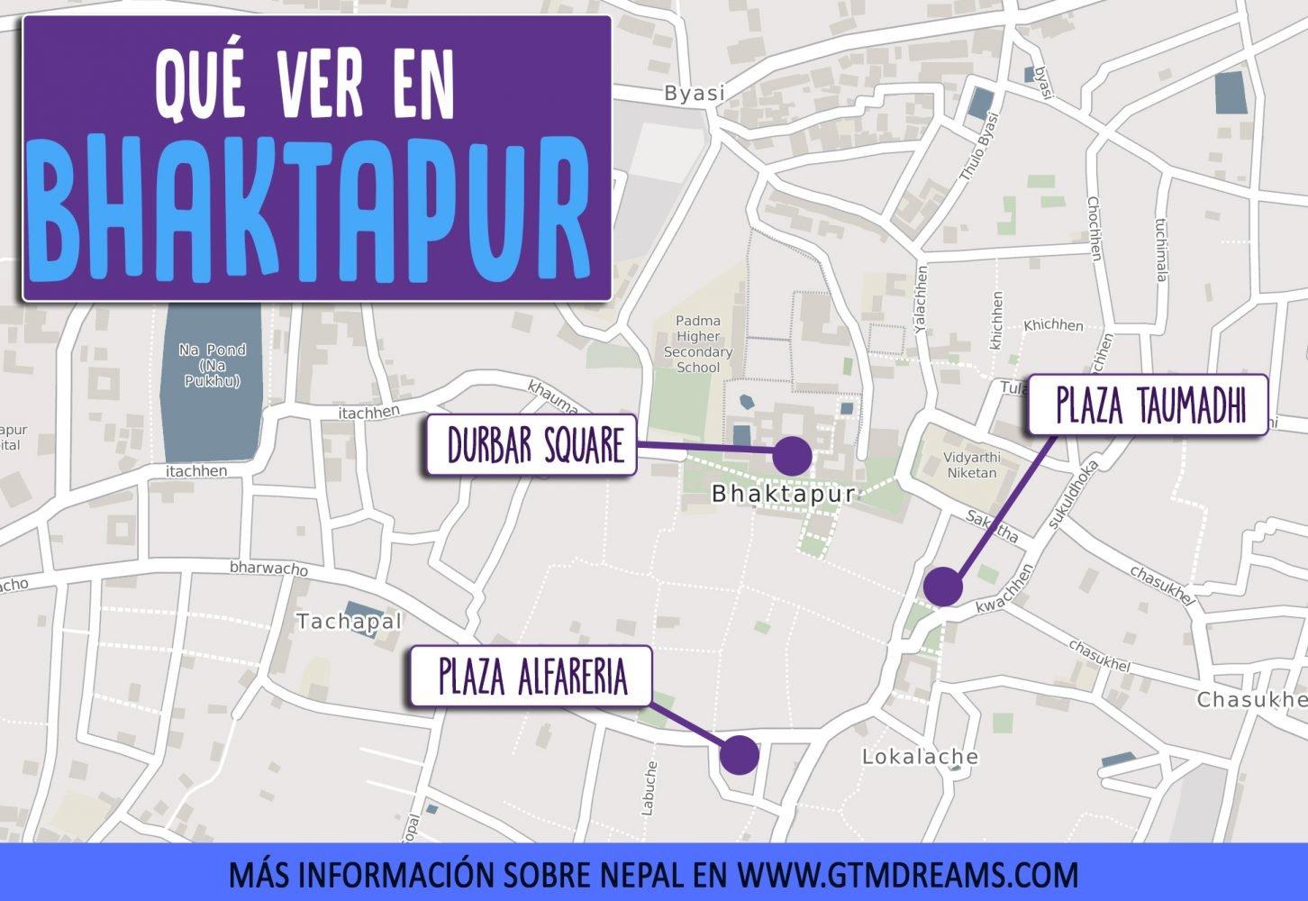 mapa de Bhaktapur. Que ver en Bhaktapur