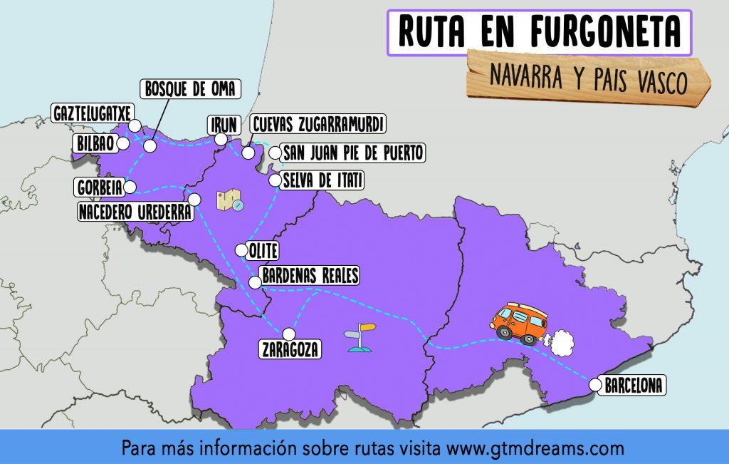 mapa ruta en furgoneta pais vasco navarra
