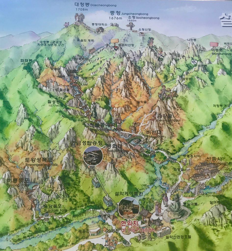 mapa del parque de seoraksan